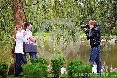 Photographer takes picture