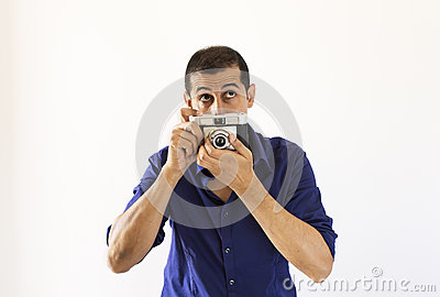 Photographer thinking about his new instant