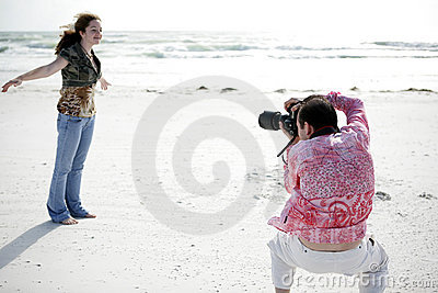 Photographer Works With Model
