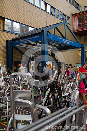 Photographers  ladders, St Mary s Hospital Editorial Image