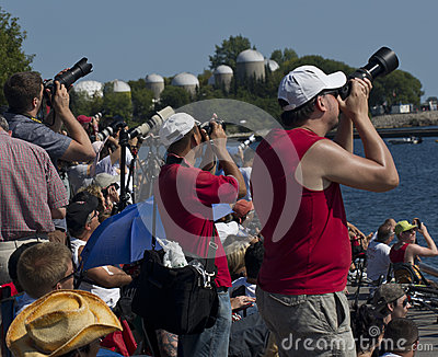 Photographers at the Toronto air show 2012 Editorial Image