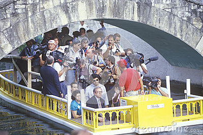 Photographers on a tour boat Editorial Photo