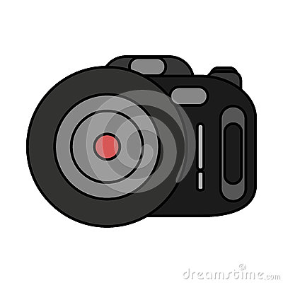 Photographic camera device isolated icon Vector Illustration