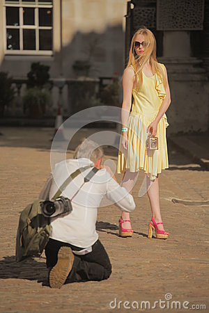 Photographing a model Editorial Stock Image