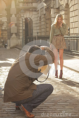 Photographing a model Editorial Photo