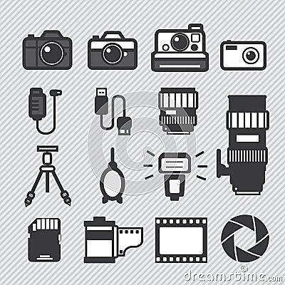 Free Photography Camera Icons Set Royalty Free Stock Photography - 34041657