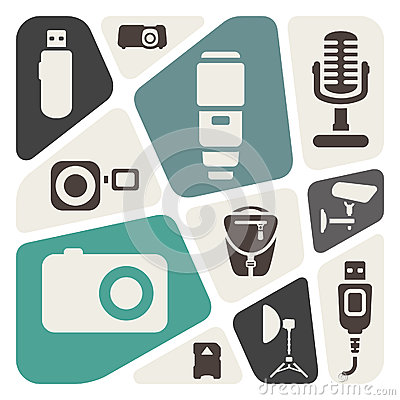 Photography devices abstract background