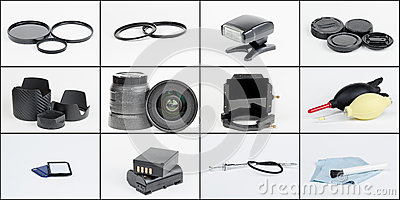 Photography equipment and accessories collage