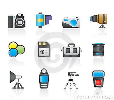 Photography equipment and tools icons