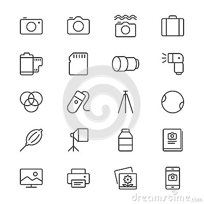 Free Photography Thin Icons Royalty Free Stock Images - 49218069