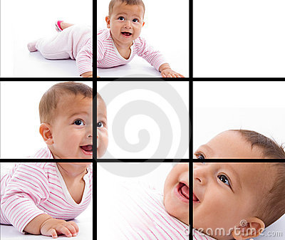 Photomontage of young adorable baby smiling