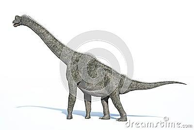 Photorealistic 3 D rendering of a Brachiosaurus.