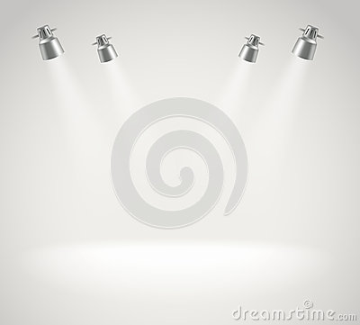 Free Photorealistic Bright Stage With Spot Lights Royalty Free Stock Image - 39298456