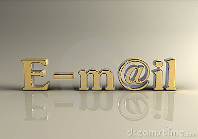 Photorealistic golden e-mail 3d text