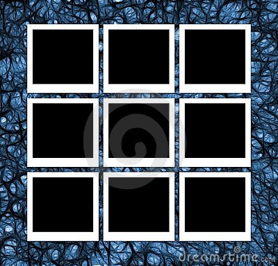 Photos on abstract blue
