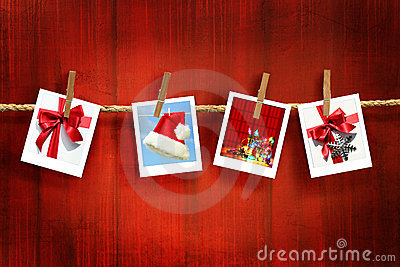 Photos frames on rustic red wood