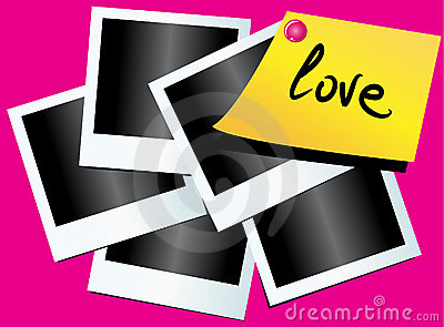 Photos and paper with love