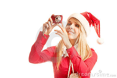 Photos to young santa woman in christmas holidays