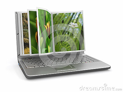 Photoviewer. Photo album as laptop screen