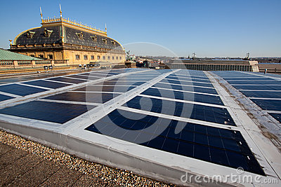 Photovoltaic panels on historical building