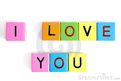 Phrase I LOVE YOU from wooden blocks