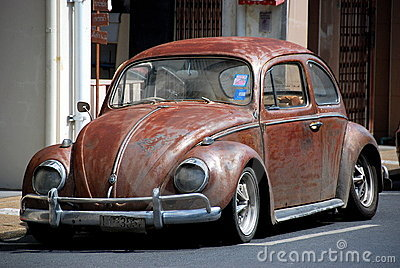 Phuket City, Thailand: Vintage Volkswagen Car Editorial Stock Photo