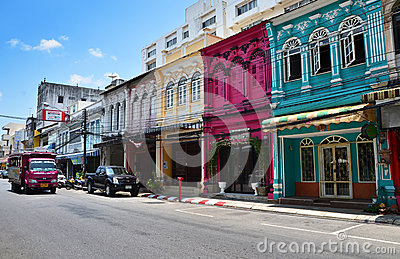Phuket, Thailand - April 15, 2014 : Old building Chino Portugues style in Phuket Editorial Photo