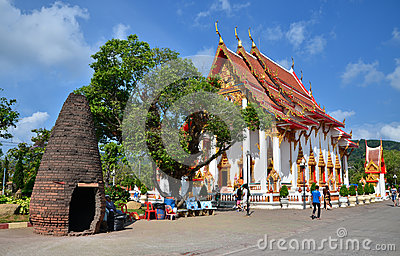 PHUKET, THAILAND - APRIL 15, 2014 : Wat Chaitharam or Wat Charong, The temple is one of the most sacred temple in Phuket city. Editorial Photo