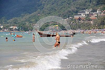Phuket, Thailand: Bathers at Patong Beach Editorial Photo
