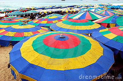 Phuket, Thailand: Colourful Beach Umbrellas Editorial Stock Photo