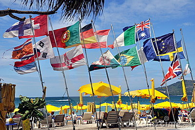 Phuket, Thailand: European Flags on Patong Beach Editorial Image