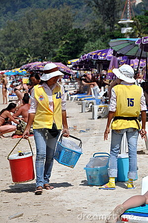 Phuket, Thailand: Food Vendors on Beach Editorial Photography