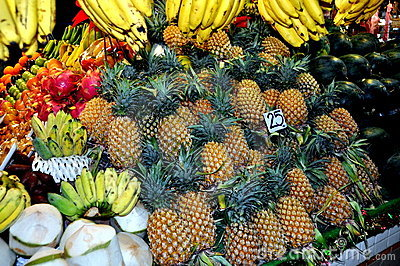 Phuket, Thailand: Fresh Fruits at Market Hall Editorial Image