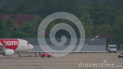 Airplane Airbus 320 towing stock footage