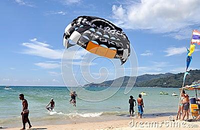 Phuket, Thailand: Paragliding at Patong Beach Editorial Image