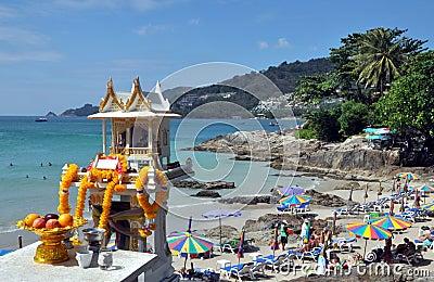 Phuket, Thailand: Shrine & Patong Beach Editorial Stock Photo