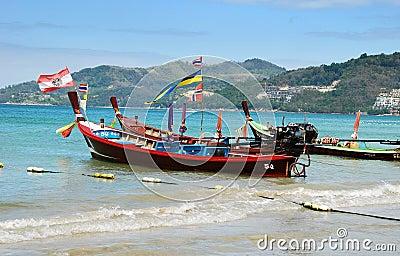 Phuket, Thailand: Two Thai Longboats Editorial Photography