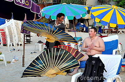 Phuket, Thailand: Vendor Selling Fans Editorial Image