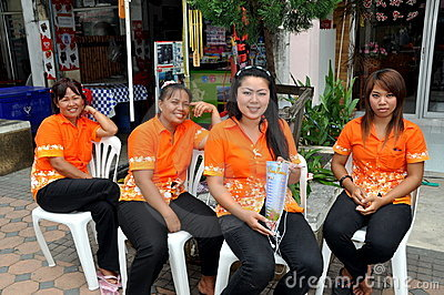 Phuket, Thailand:  Women Massage Workers Editorial Stock Image
