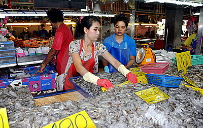 Phuket, Thailand: Workers Selling Shrimp Editorial Photography