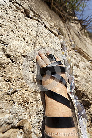 Free Phylacteries Wrapped Hand On The Western Wall Stock Image - 29803041