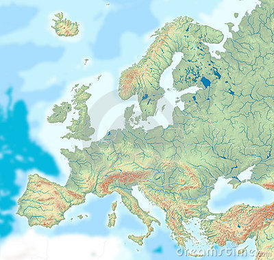 Free Physical Map Of Europe Royalty Free Stock Images - 13394739