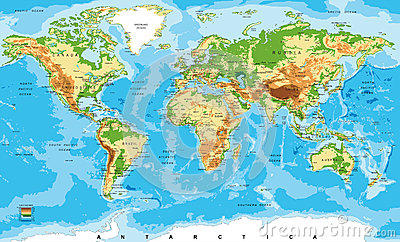 Physical map of the world Vector Illustration