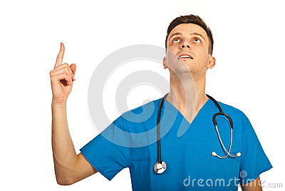 Physician pointing up