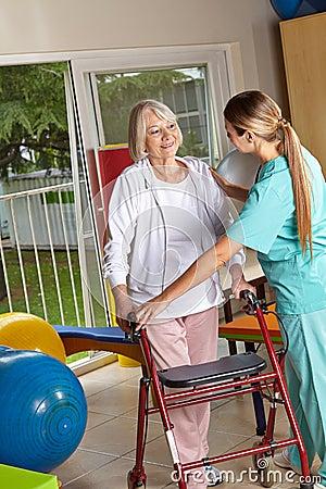 Physiotherapist explaining walker