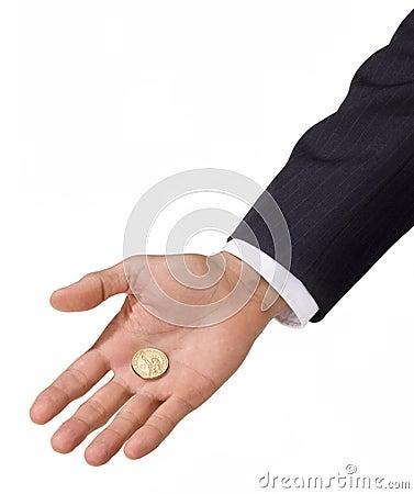Pièce de monnaie du dollar de fixation de main