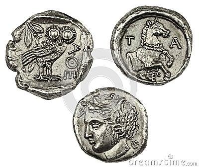 Pièces de monnaie grecques