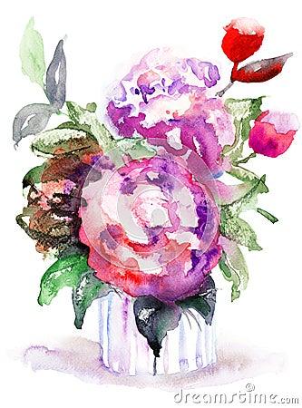 Piękni peonia kwiaty