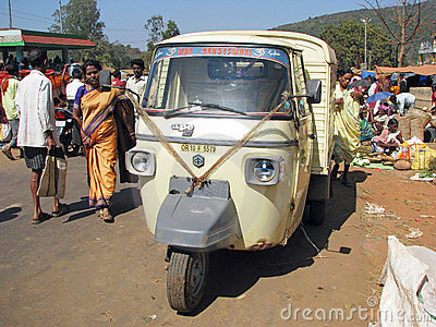 Piaggio Ape at the indian market Editorial Photo