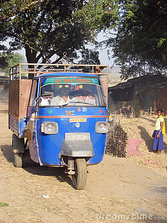 Piaggio Ape at the indian rural village Editorial Photo